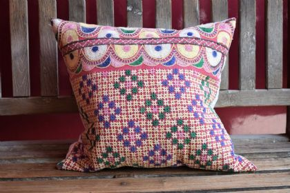 cushion made from antique linen and antique embroidery